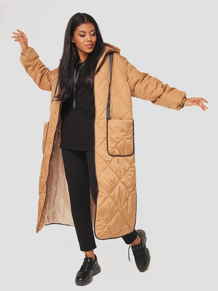 Pikowana kurtka midi z kontrastową lamówką Love&Live (zdjęcie 3)