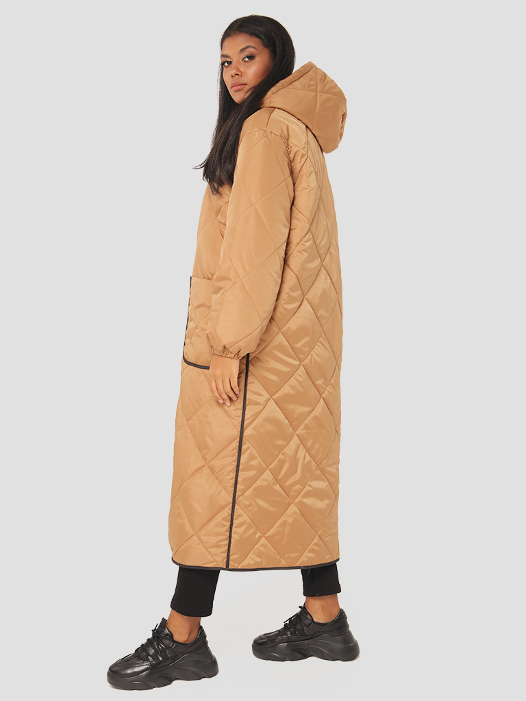 Pikowana kurtka midi z kontrastową lamówką Love&Live (zdjęcie 5)