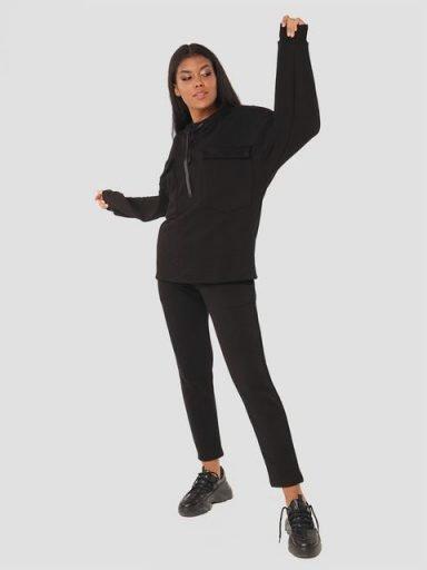 Czarny zestaw dresowy (bluza, spodnie) Katarina Ivanenko