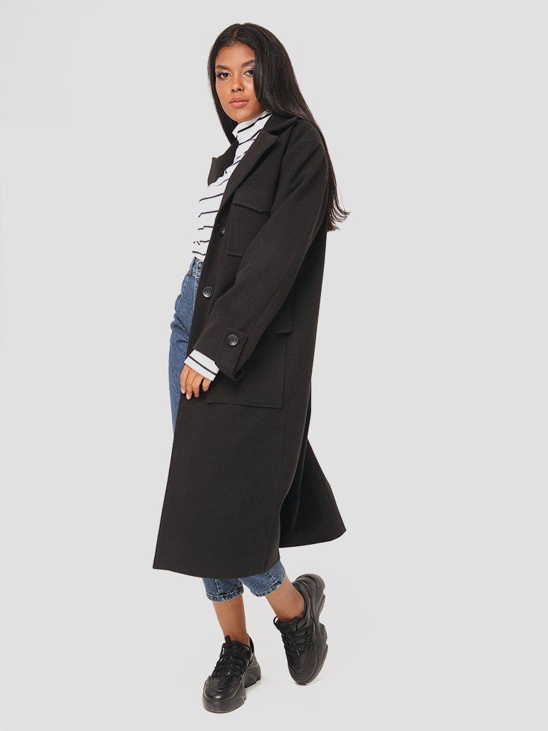Klasyczny czarny płaszcz Love&Live (zdjęcie 2)