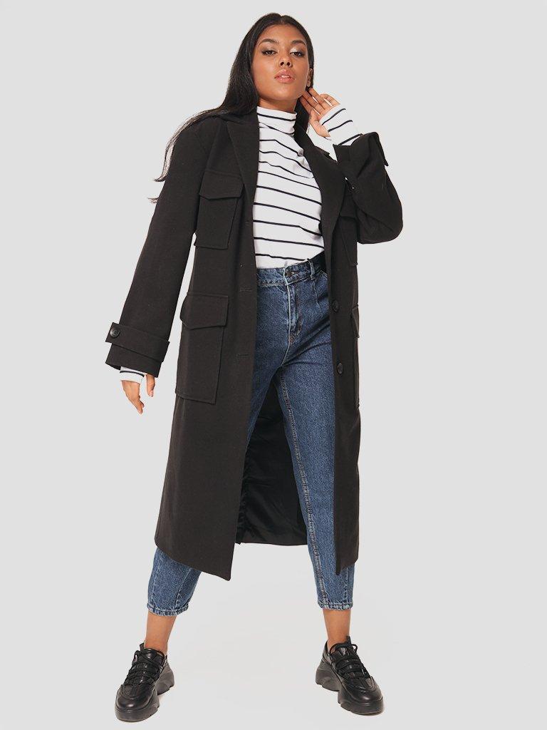 Klasyczny czarny płaszcz Love&Live (zdjęcie 3)