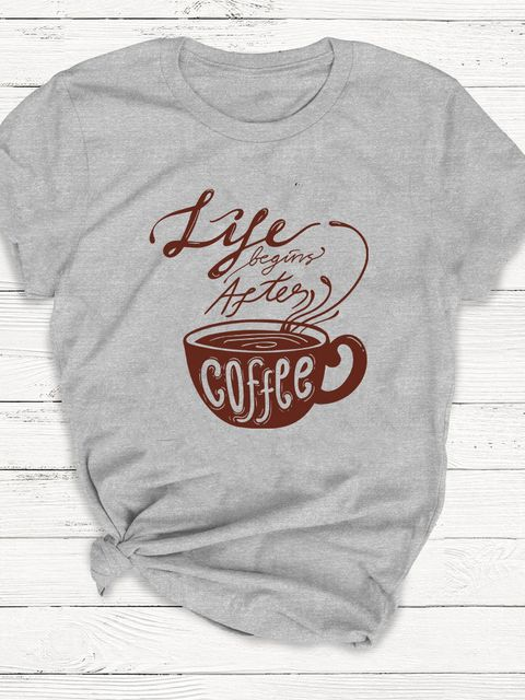 T-shirt męski szary Life begins after coffee ZUZU