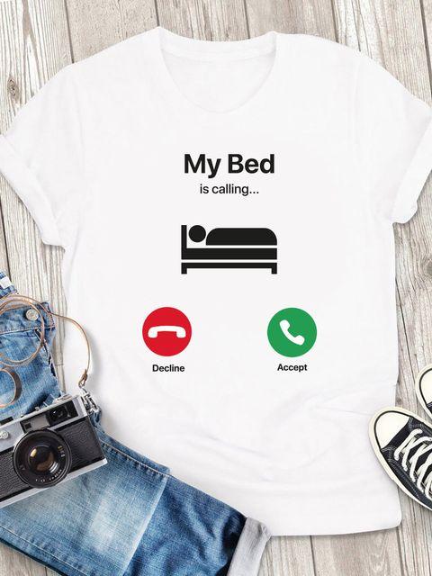 T-shirt męski biały My bed is calling ZUZU