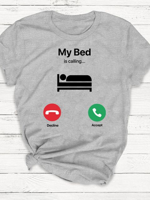 T-shirt męski szary My bed is calling ZUZU
