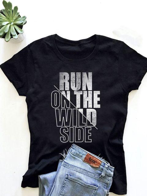 T-shirt męski czarny Run on the wild side ZUZU