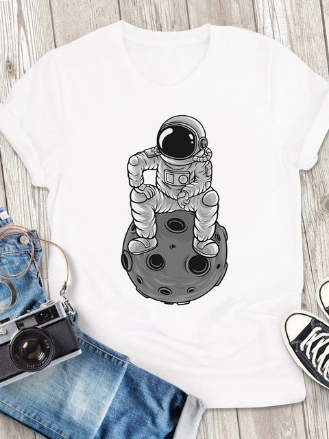 T-shirt męski biały Sit on the moon ZUZU