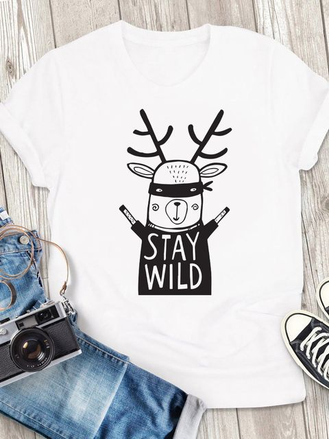 T-shirt męski biały Stay wild ZUZU