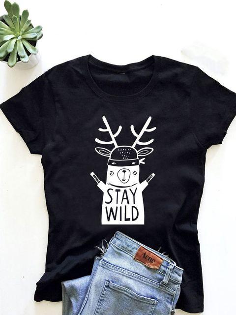 T-shirt męski czarny Stay wild ZUZU