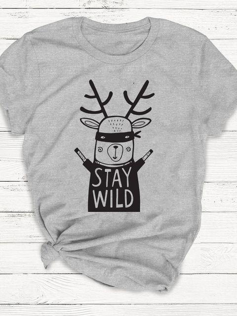 T-shirt męski szary Stay wild ZUZU