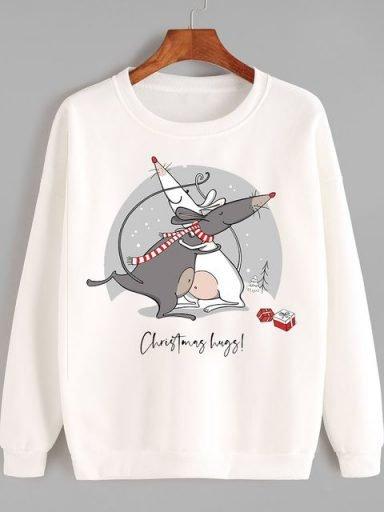 Bluza w kolorze białym Christmas hugs Love&Live