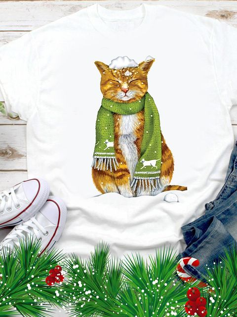 T-shirt męski biały Zimowy kotek Love&Live