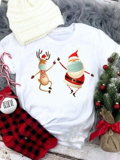 T-shirt biały Santa z jeleniem Love&Live
