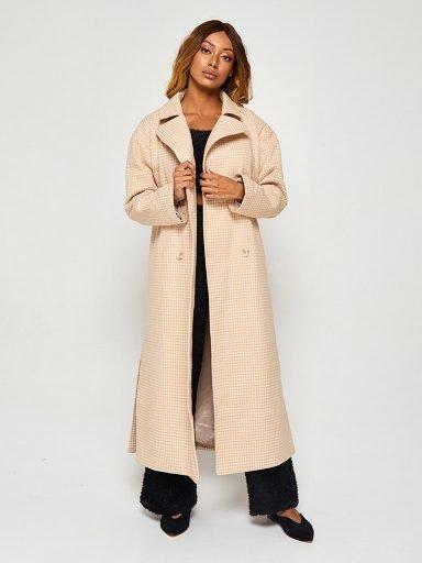 Beżowy płaszcz oversize w pepitkę Love&Live