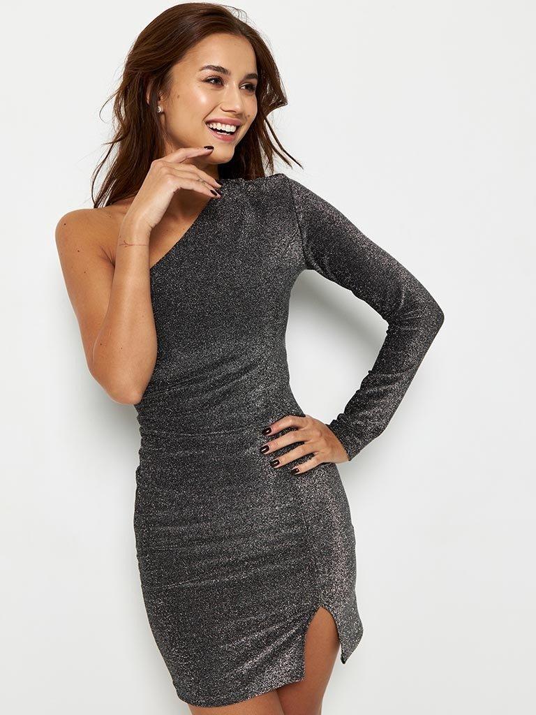 Sukienka mini w kolorze czarnym na jedno ramię Katarina Ivanenko