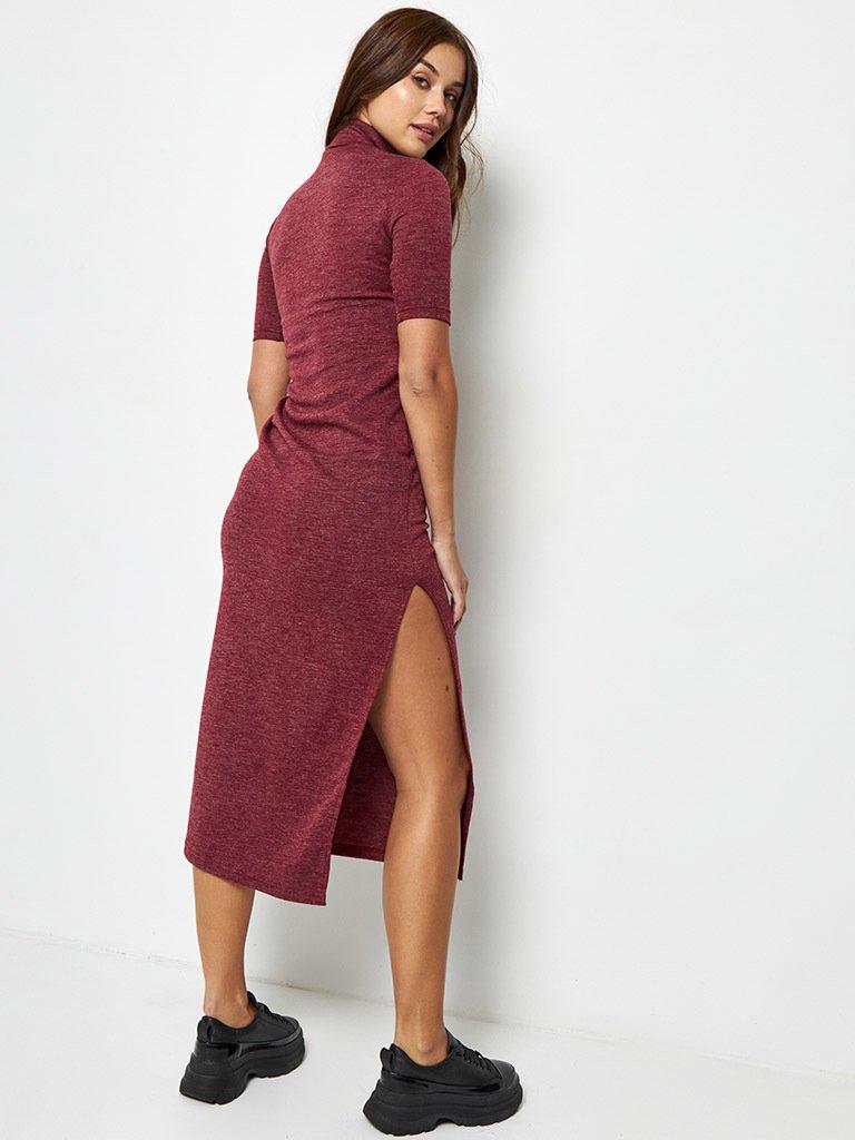Dzianinowa bordowa sukienka midi z rękawami 3/4 Love&Live (zdjęcie 5)
