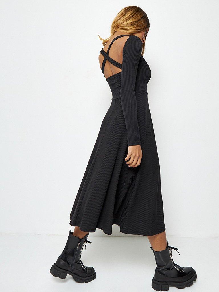 Sukienka midi w kolorze czarnym z odkrytymi plecami Katarina Ivanenko