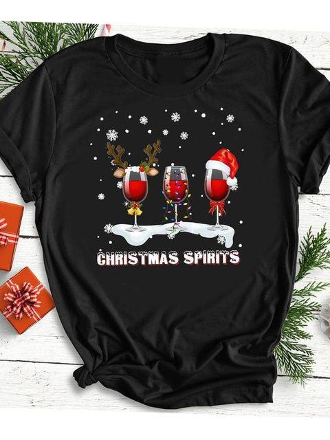 T-shirt czarny Christmas spirits Katarina Ivanenko