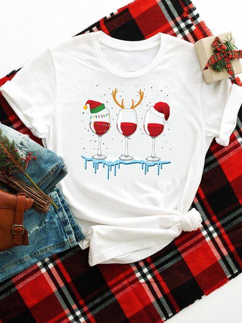 T-shirt biały Christmas wine Katarina Ivanenko