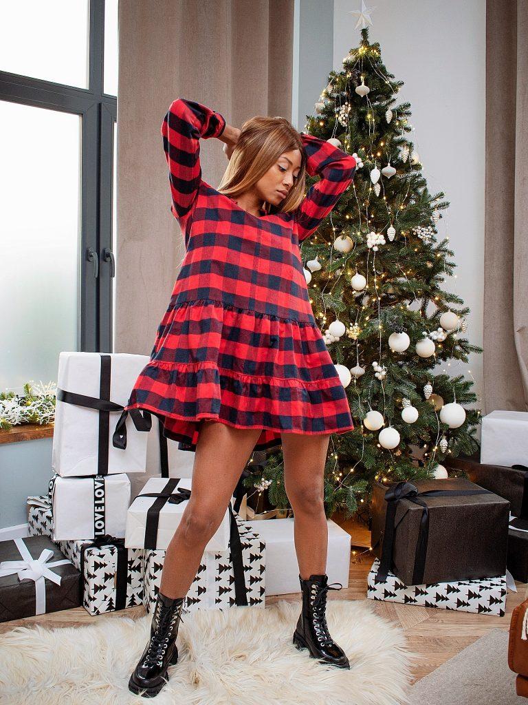 Sukienka mini czerwona w kratę Love&Live