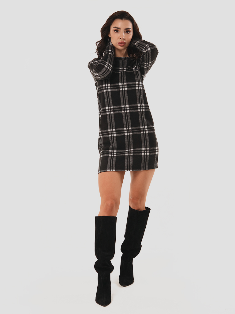 Sukienka mini czarna w kratę Love&Live (zdjęcie 2)