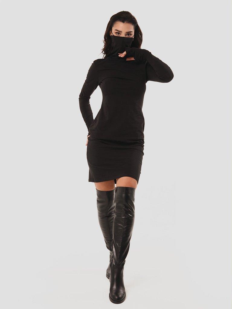 Sukienka czarna mini z kołnierzem-maską Love & Live