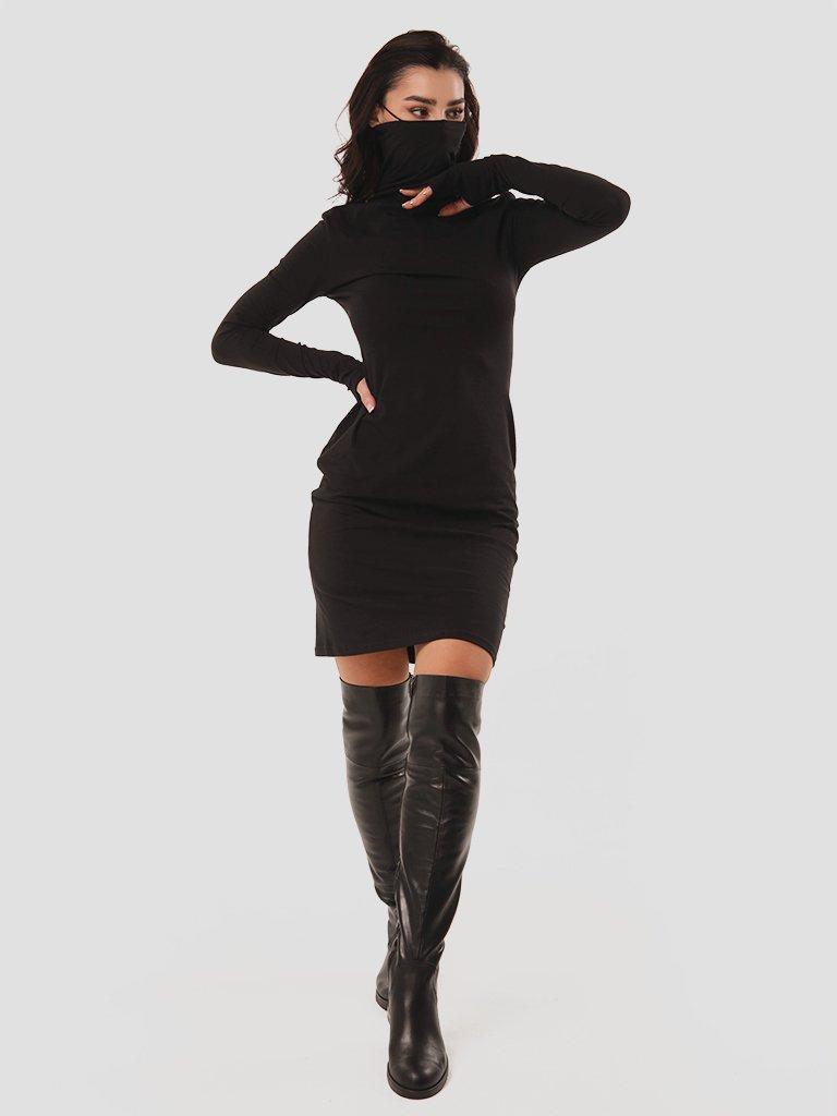 Sukienka czarna mini z kołnierzem-maską Love & Live (zdjęcie 2)