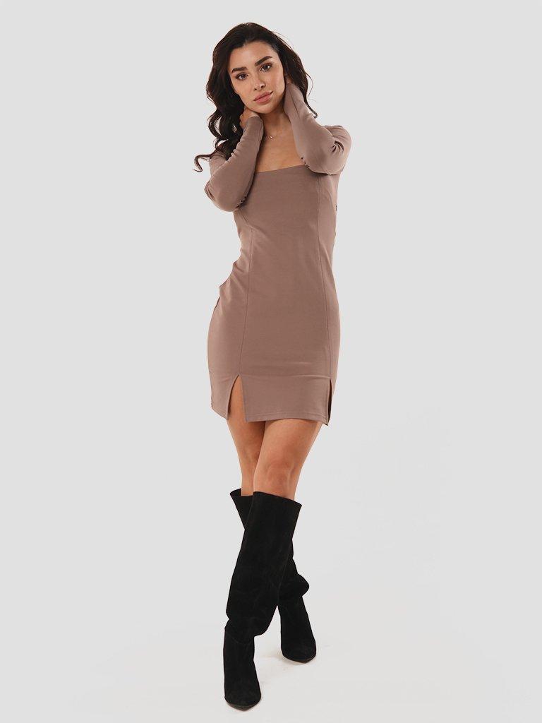 Sukienka mini w kolorze mocca z rozcięciami Love&Live (zdjęcie 3)