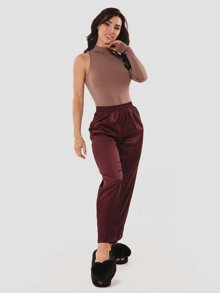 Domowe jedwabne spodnie bordowe Love&Live