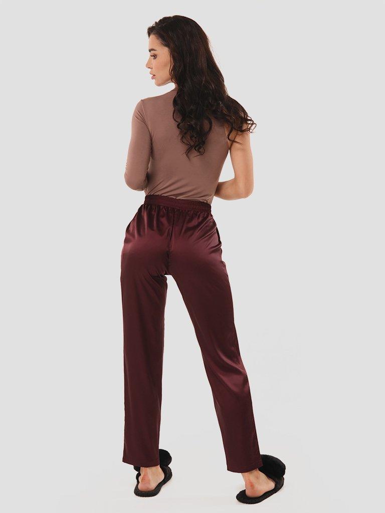 Domowe jedwabne spodnie bordowe Love&Live (zdjęcie 2)