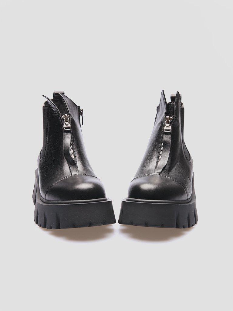 Czarne skórzane buty z gumką Love&Live (zdjęcie 2)