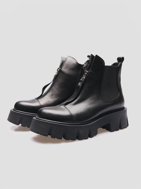 Czarne skórzane buty z gumką Love&Live