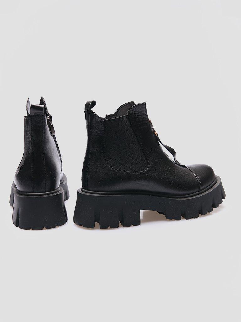 Czarne skórzane buty z gumką Love&Live (zdjęcie 3)