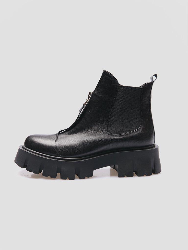 Czarne skórzane buty z gumką Love&Live (zdjęcie 4)