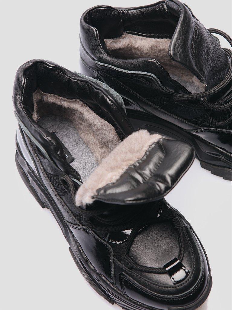 Czarne skórzane botki z lakierowanymi wstawkami Love&Live (zdjęcie 4)
