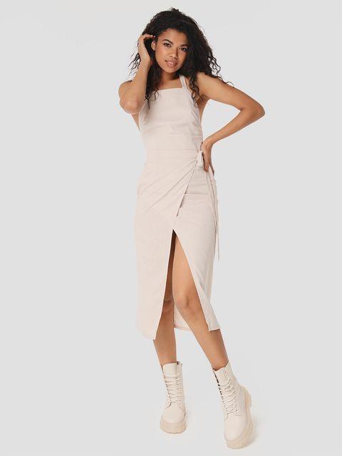 Sukienka maxi lniana w kolorze szarym Katarina Ivanenko