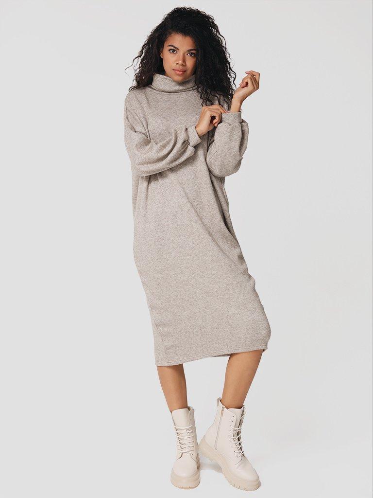 Sukienka midi beżowo-melanżowa z odkrytymi plecami Katarina Ivanenko (zdjęcie 2)