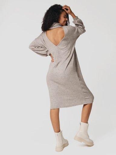 Sukienka midi beżowo-melanżowa z odkrytymi plecami Katarina Ivanenko