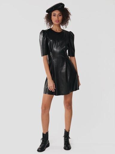 Sukienka mini z eko skóry w kolorze czarnym Katarina Ivanenko