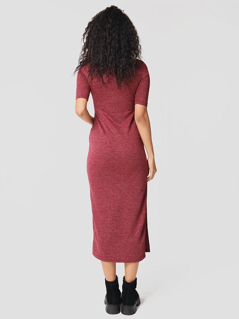 Dzianinowa bordowa sukienka midi z rękawami 3/4 Love&Live (zdjęcie 3)