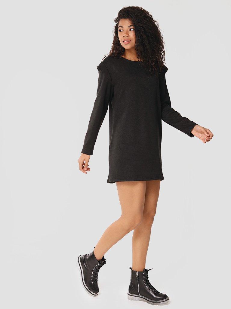 Sukienka mini z angory w kolorze czarnym Love&Live (zdjęcie 2)