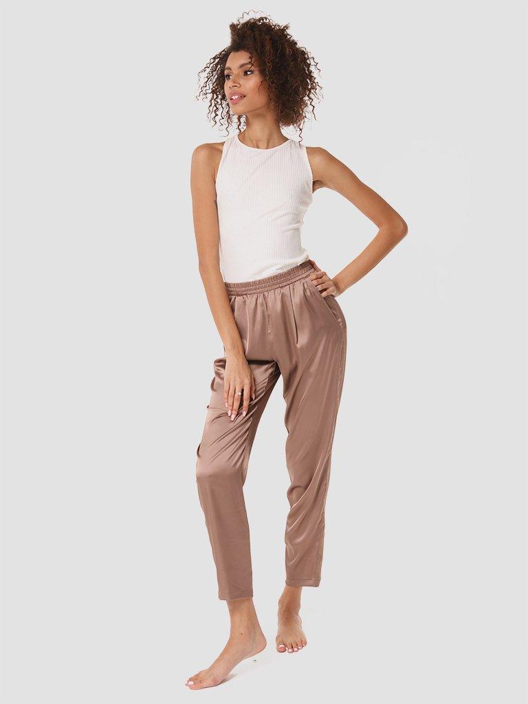 Domowe jedwabne spodnie w kolorze czekoladowym Love&Live (zdjęcie 2)