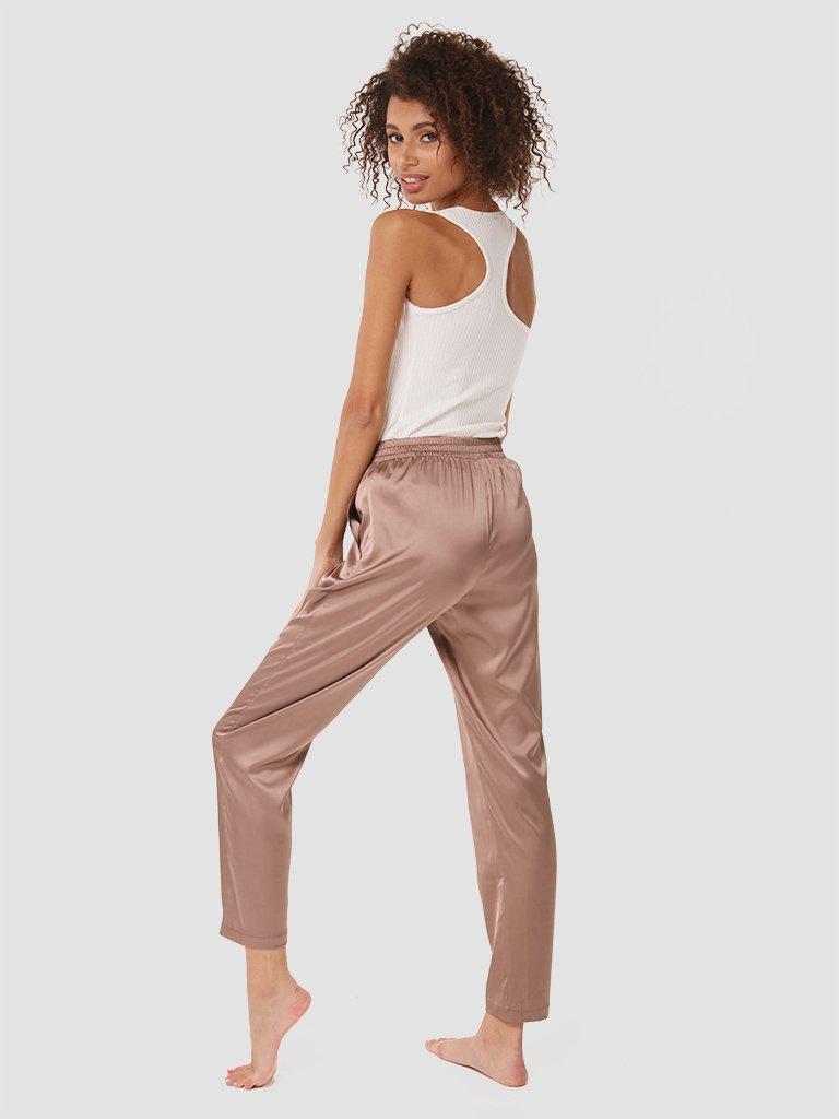 Domowe jedwabne spodnie w kolorze czekoladowym Love&Live (zdjęcie 3)