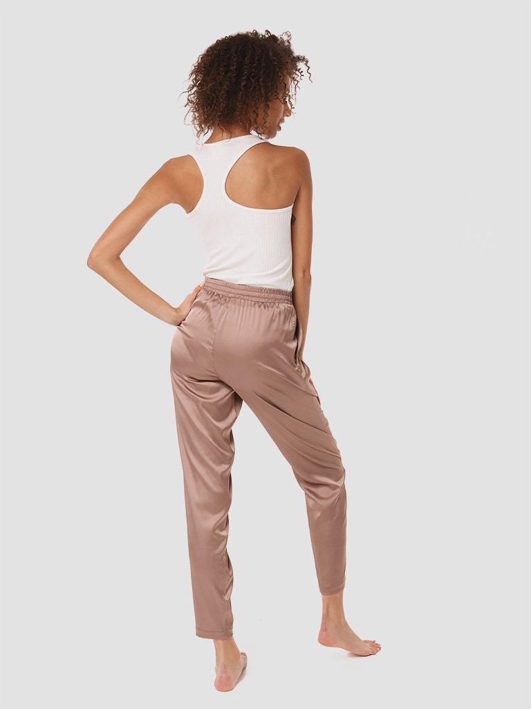 Domowe jedwabne spodnie w kolorze czekoladowym Love&Live (zdjęcie 4)