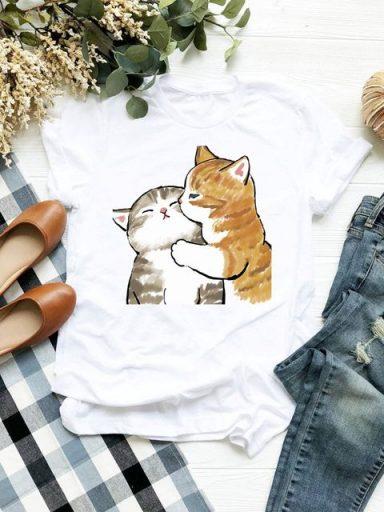 T-shirt biały Czułość kotków Love&Live