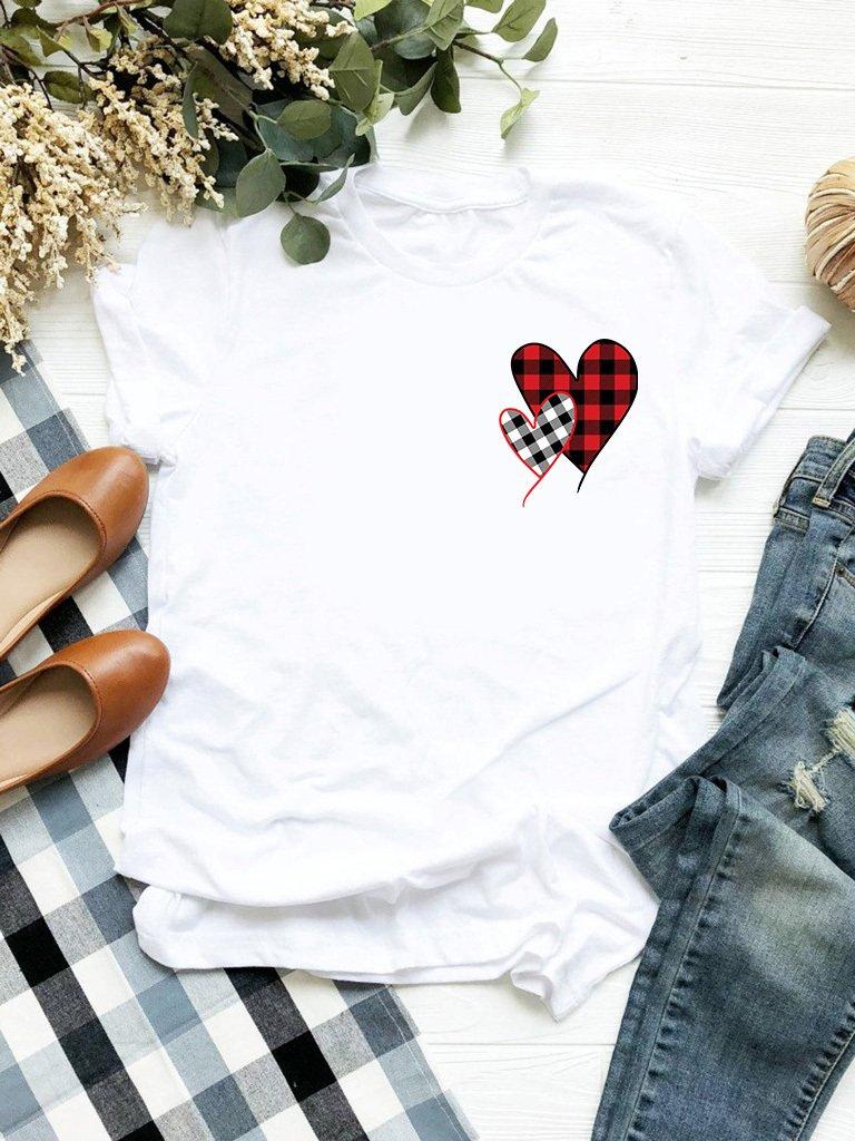 T-shirt biały Miłość w kratę-2 Love&Live