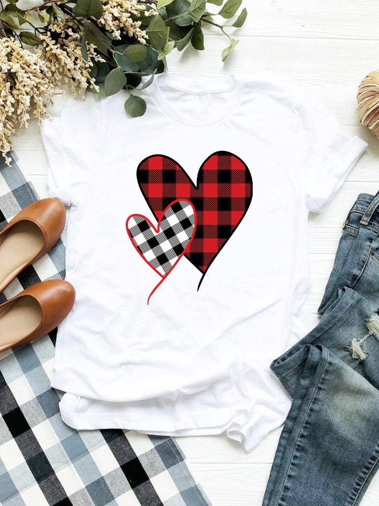 T-shirt biały Miłość w kratę Love&Live