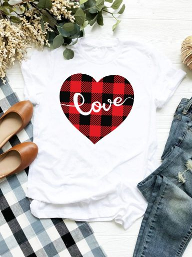 T-shirt biały Serce w kratę Love&Live