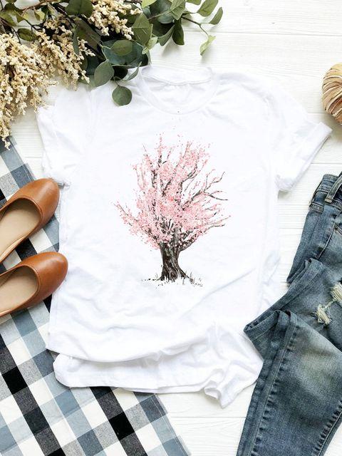 T-shirt biały Kwiat Sakury Love&Live