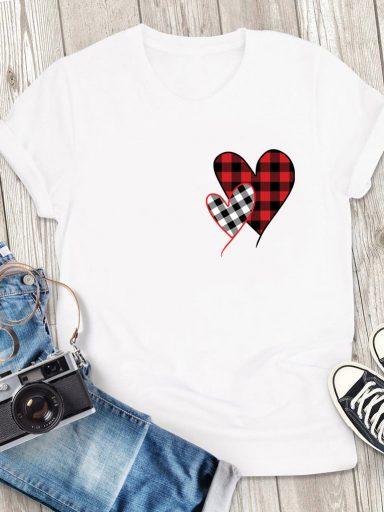 T-shirt męski biały Miłość w kratę-2 Love&Live (zdjęcie 3)