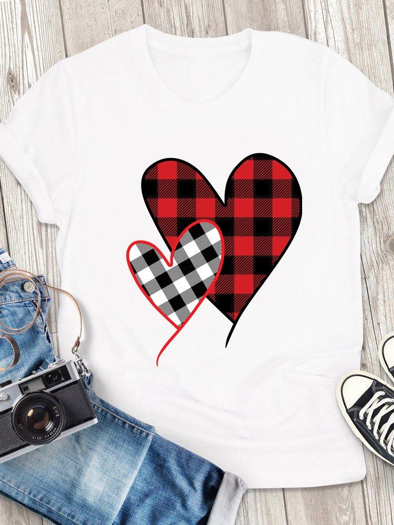 T-shirt męski biały Miłość w kratę Love&Live